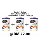 [BUNDLE] Canine's Recipe Lamb, Turkey, Potato & Cranberry with Salmon Oil 400 gm x 3